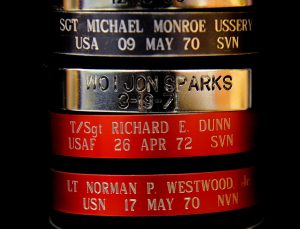 This is a selection of bracelets left at the Wall over the years. (Photo: Michael S. Williamson / The Washington Post)